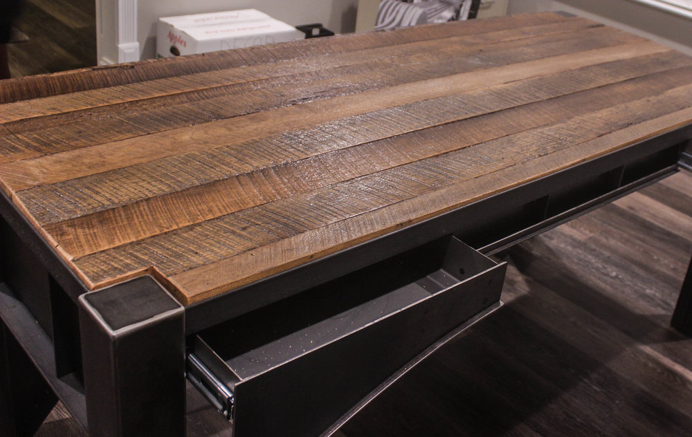 Featuring Reclaimed Wood And Raw Steel, This Desk Is An Tribute To The  Beautiful Roberto Clemente Bridge In Pittsburgh, PA. A Specific Request  From A Client ...