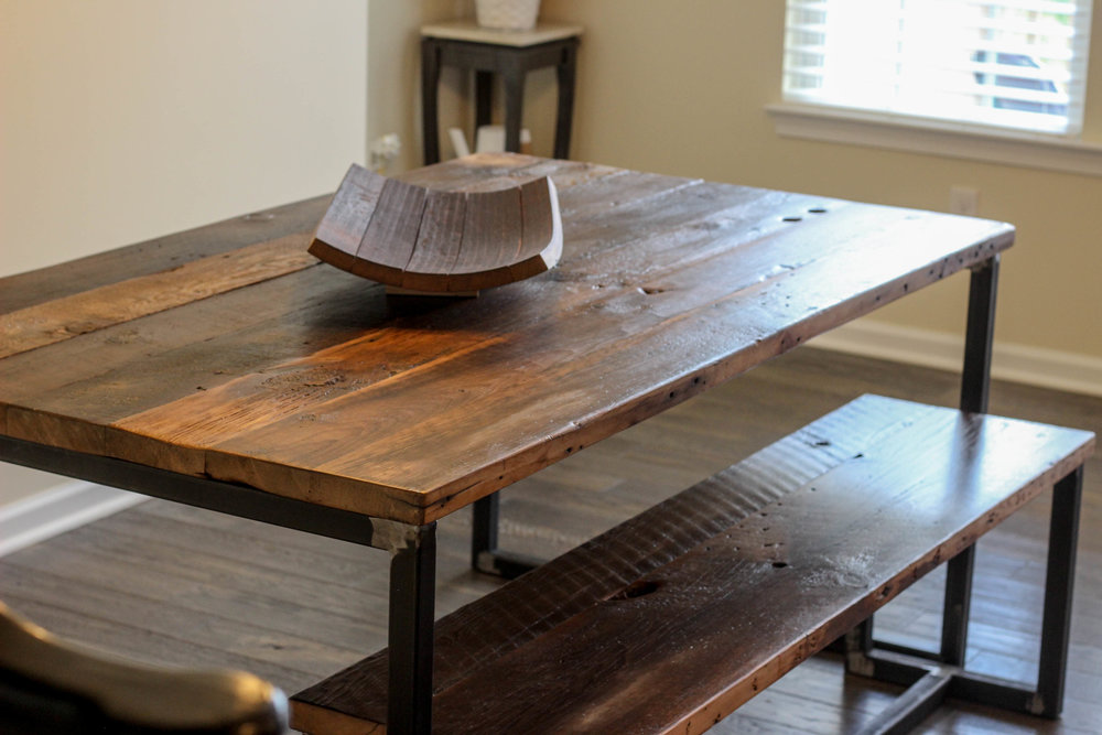 Reclaimed Wood Industrial Dining Table