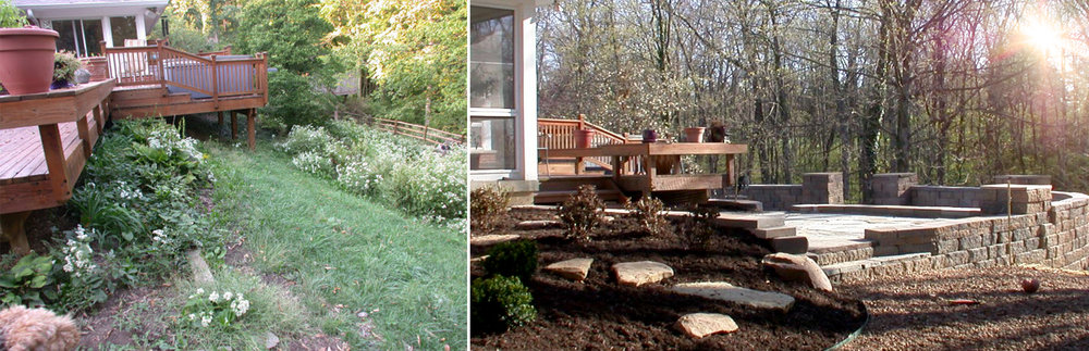 Retaining Wall & Patio - Before & After
