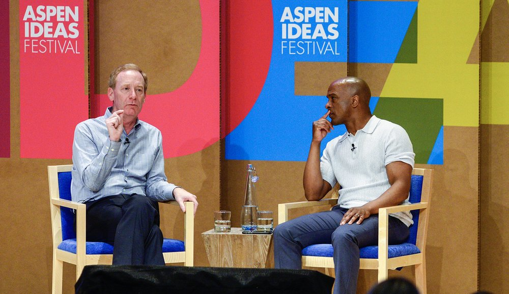 Microsoft President Brad Smith shares his story, from his upbringing in Wisconsin, to his youthful infatuation with the PC, to the highest level of one of this era's tech superpowers.  Photo: Leigh Vogel, Courtesy of the Aspen Institute.