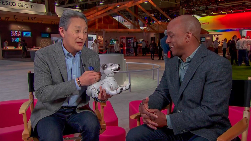 Sony CEO Kaz Hirai showed off the new version of the Aibo robot dog at the Consumer Electronics Show.