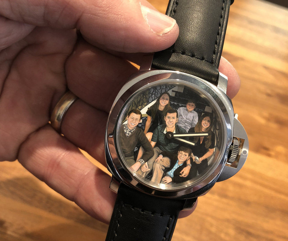 Watchbox CEO Danny Govberg had a watch face custom painted with his family on it. It took the artist 400 hours.