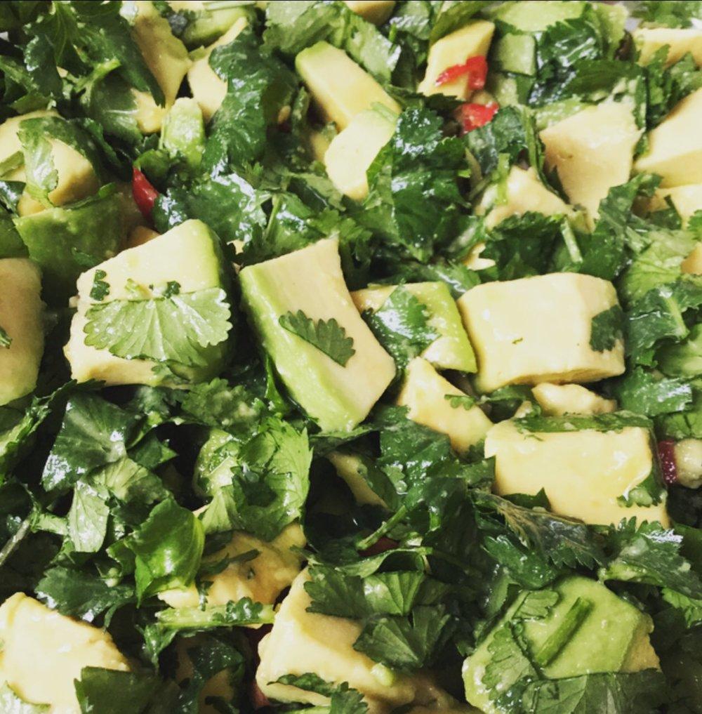 Super Simple Avocado and Coriander Salad