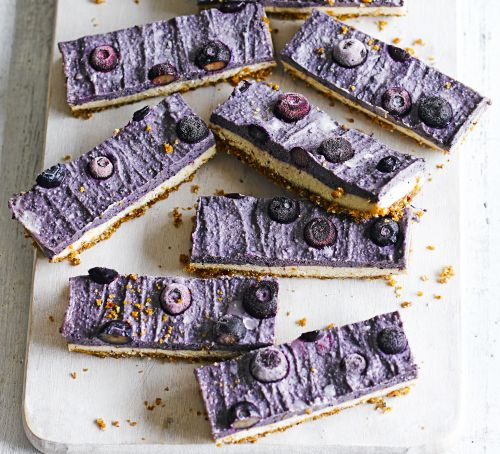 BBC Good Food: Raw Vegan Blueberry Cheesecake Bars