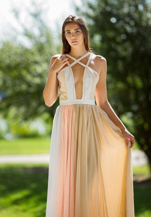 Silk Georgette & Silk Crinkle Chiffon Evening Gown — Wiki Wang ...