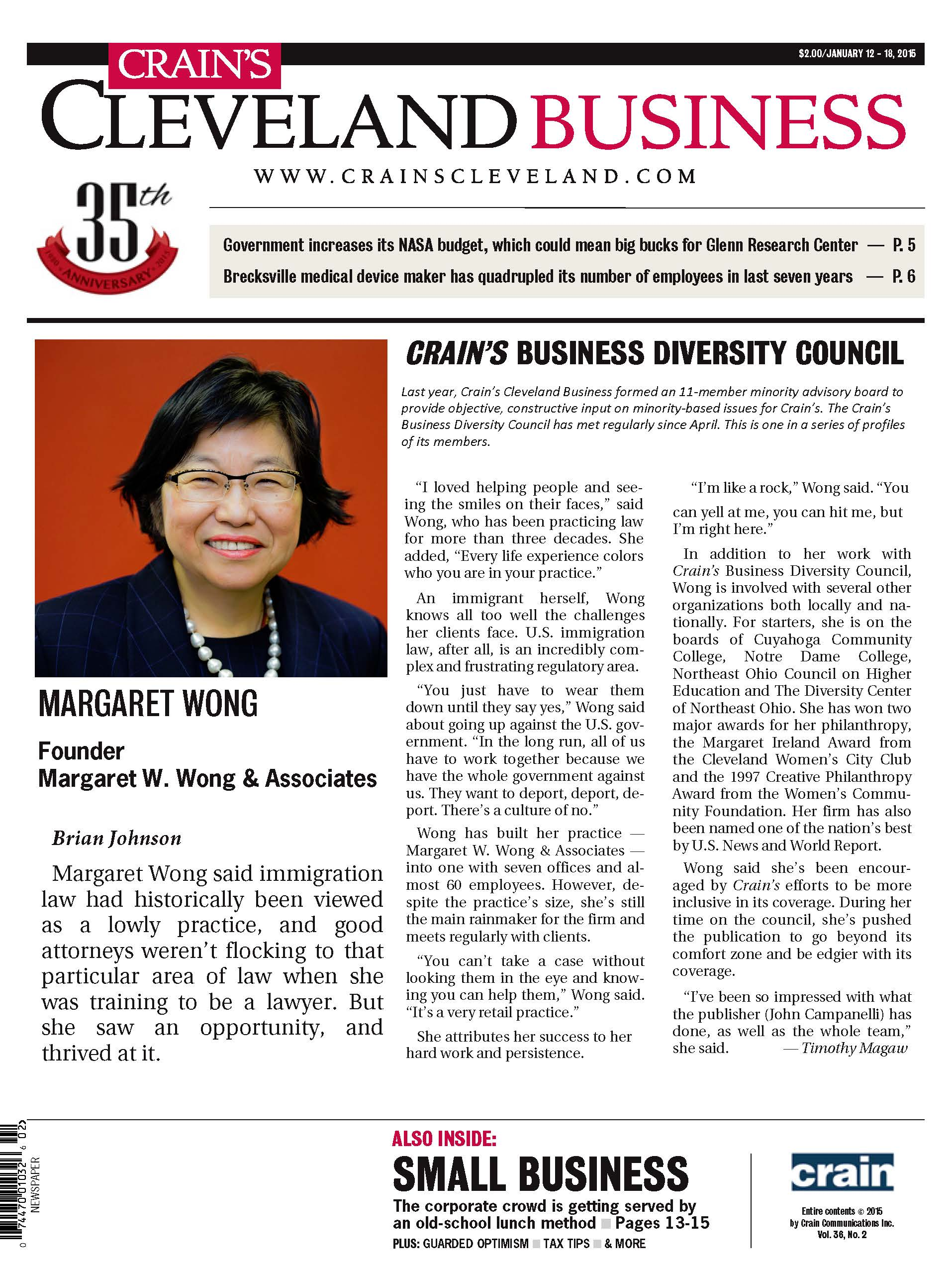 Margaret W Wong immigration attorney helps local newspaper communicate diversity