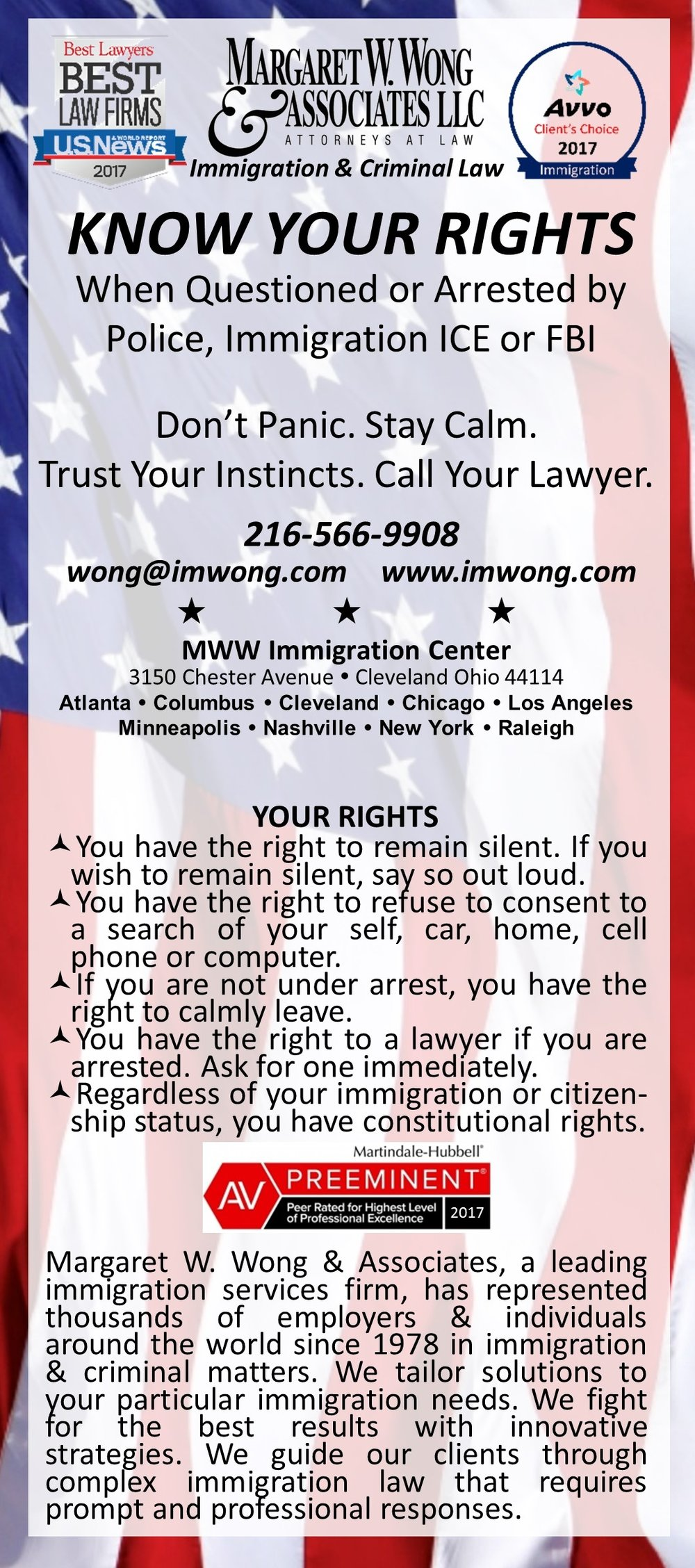 """Know Your Rights"" Wallet Card English Front"