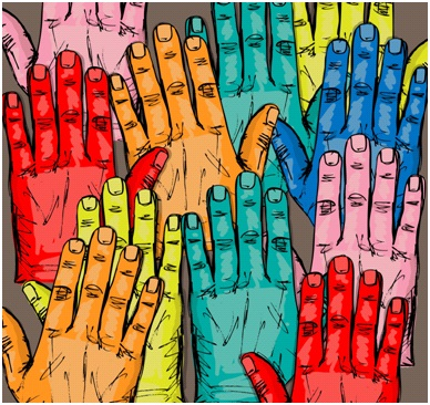 Building trust while cutting costs multicolored hands image.