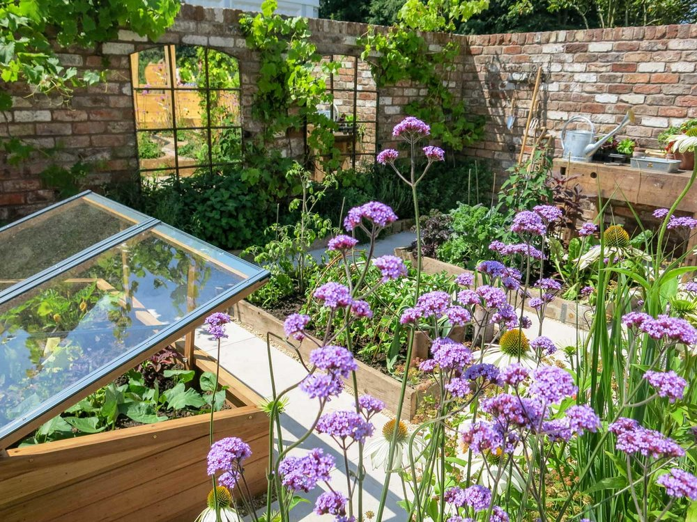 Designer Lilly Gomm's wonderful Silver Guilt Medal Garden 'A space to ruminate' at the RHS Tatton Flower Show