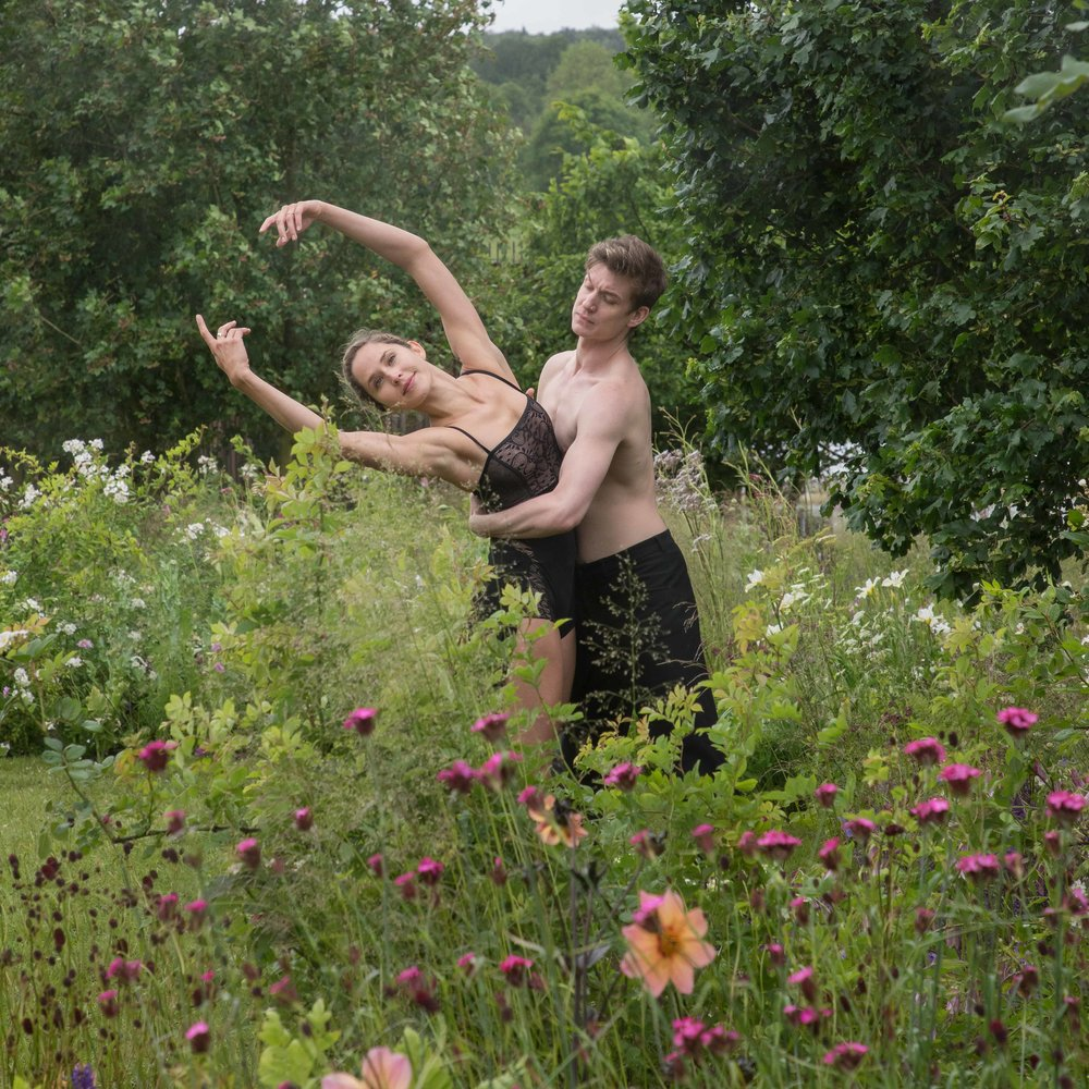 Dancers from the London Contemporary Ballet Theatre perform in the Brewin Dolphin Garden by designer Jo Thompson