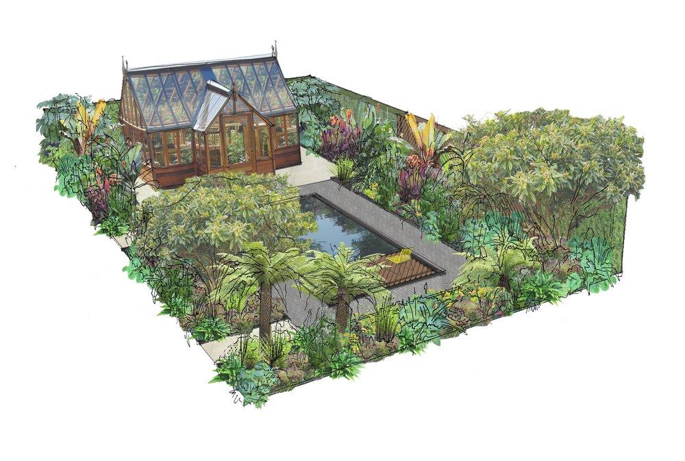 Lilly Gomm's design for the Gabriel Ash Greenhouse Garden at RHS Tatton Park Flower Show.