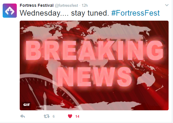Posted yesterday on Fortress Festival's Twitter