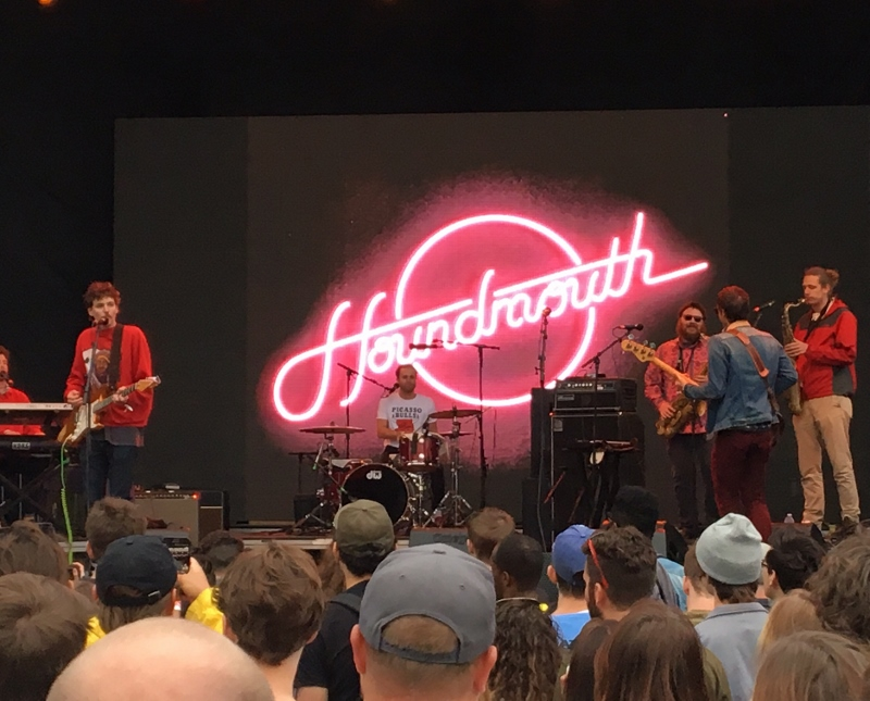 Houndmouth under the neon on Will Rogers stage - Photo Credit: Prewitt Scott-Jackson