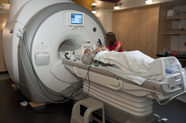 A participant entering the MRI scanner, photo courtesy of Stanford University