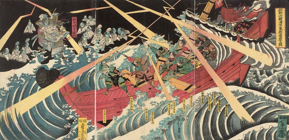 The Ghosts of the Heike Appear in Daimotsunoura Bay in Settsu Province - Hokusai