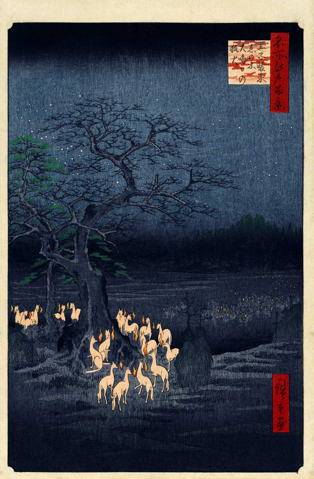 New Year's Eve Foxfires and the Changing Tree, Oji (1857) - HiroshigeThe wood grain in the dark ink adds such character. The foxes'  faces so evocative and individual; their heads have similar shape and color to the fire. Strong sense of magic and mystery, yet again, possibility and plausibility, like with the ghosts.