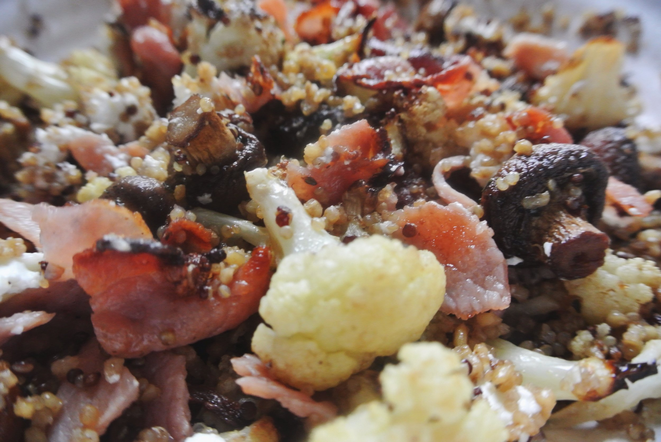 Warming Winter Salad Recipe: Quinoa, cauliflower, bacon & balsamic