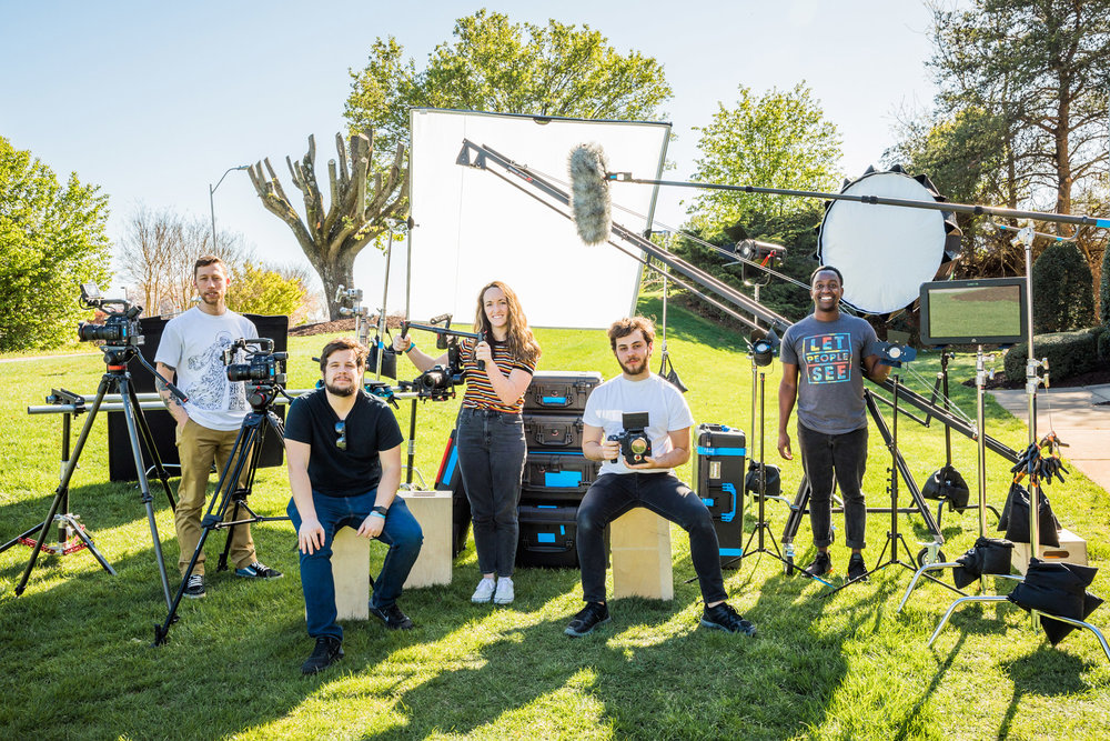 "5 person crew with full lighting kit and premium gear options: RED cinema camera package with wireless 19"" monitor, 12' crane, 8' Dana Dolly, and 6'X6' scrim."