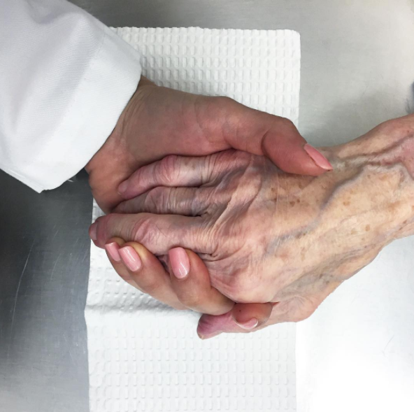 - The hand I am holding belongs to one of the nicest patients/people I have ever met. Despite being in her 90s with multiple medical problems, she always asks me about how I am doing. It's interactions with patients like her that make me feel like I chose the right career.