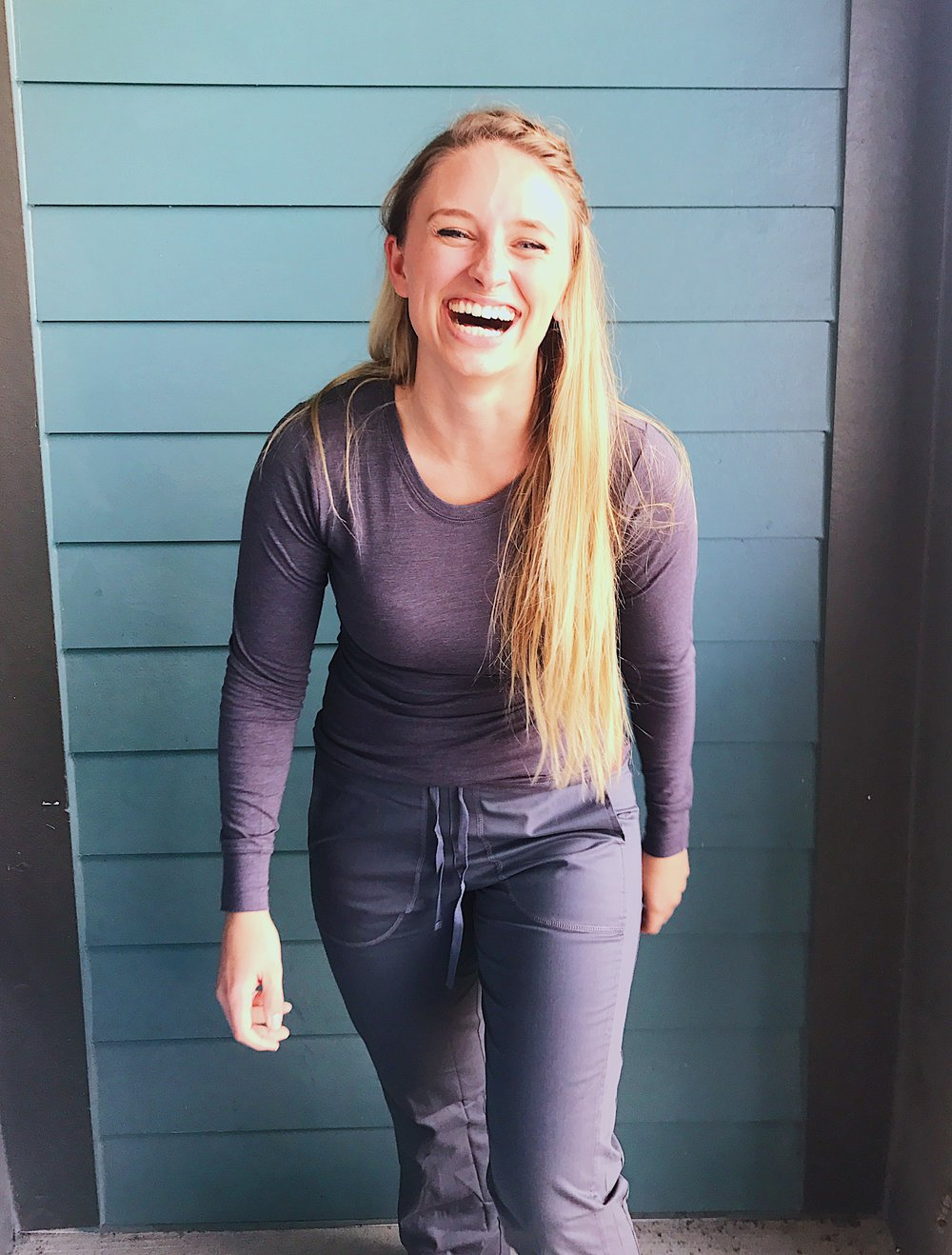#allheartSquad: @tiffanyjoy8 - Behind the scenes with #allheartSquad member @tiffanyjoy. Tiffany is wearing Ascent Women's Long Sleeve Knit Underscrub T-Shirt in Charcoal Heather.