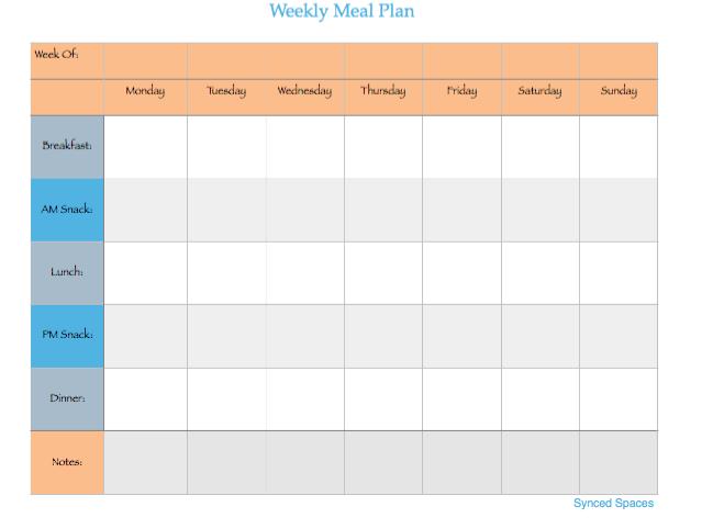 Weekly MEal Prep - Downloadable Weekly Calendar