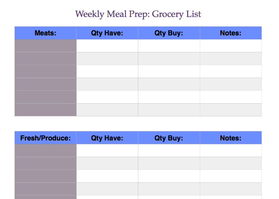 Weekly Meal Prep - Downloadable Grocery Guide
