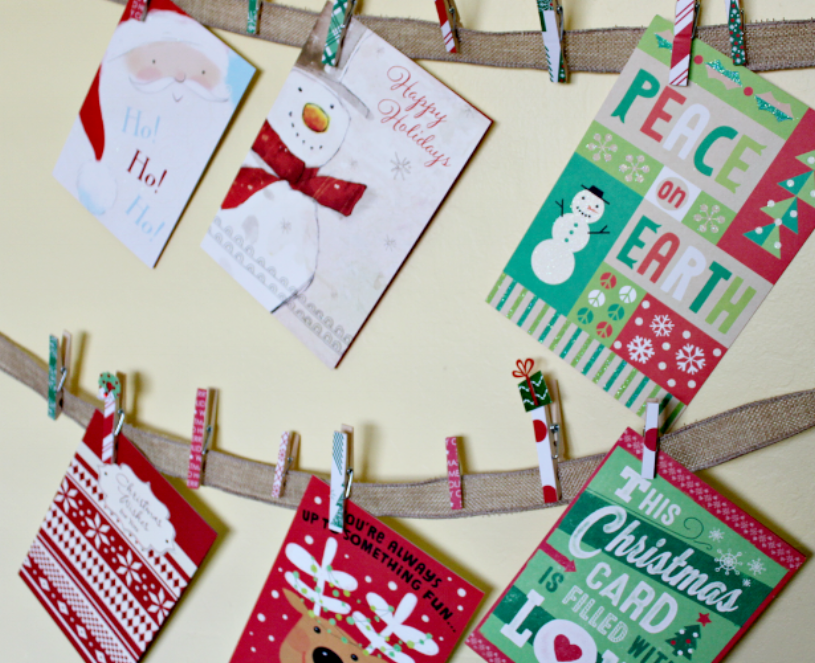 Holiday card garland tops our list. You can buy it pre made at many local stores or DIY with some jute rope and clothespins.