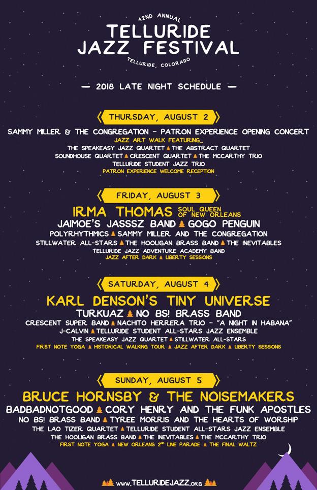 Telluride Jazz Festival | 2018 Schedule