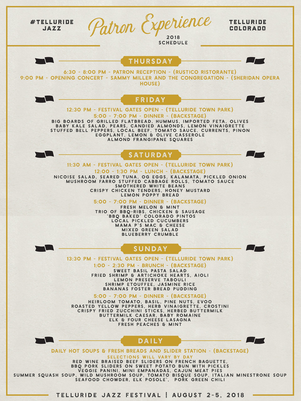 Telluride Jazz Festival | Festival Menu