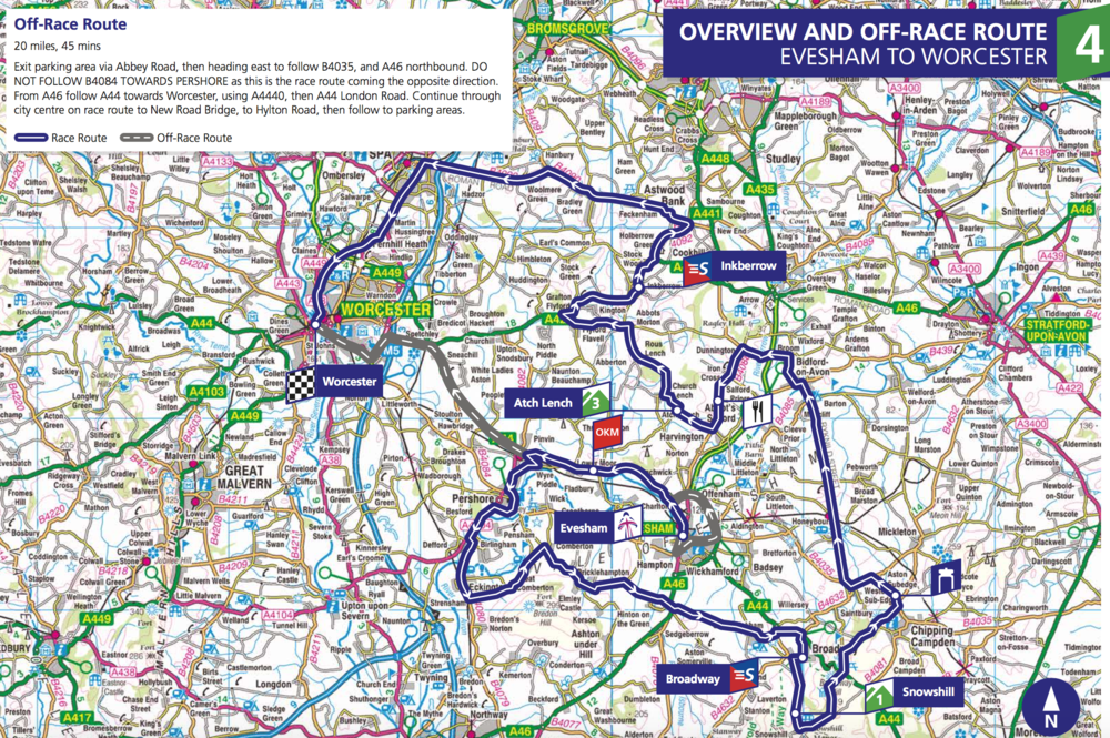 Stage 4. 131km from Evesham to Worcester. Starts at 10:30.