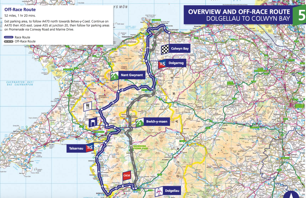 Stage 5. 122.6km from Dolgellau to Colwny Bay. Starts at 10:30.
