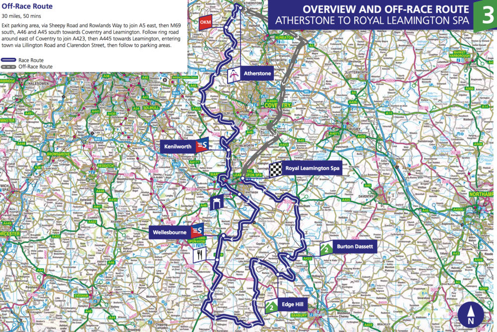 Stage 3. 150.4km from Atherstone to Royal Leamington Spa. Starts at 10:00.