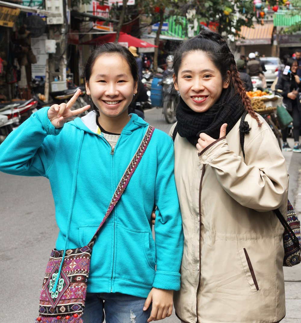 My wonderful tour guides in Hanoi, Ha and Giao. They are part of a non-profit providing free tours to promote cultural exchange between the Vietnamese and tourists. More info  here .