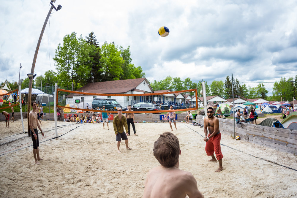 Pickup Games - Our festival grounds come complete with grassy fields, a hockey rink, a human foosball field, basketball courts, and volleyball courts. Expect spontaneous pickup games (with an unexpected twist) happening throughout the festival grounds all weekend.