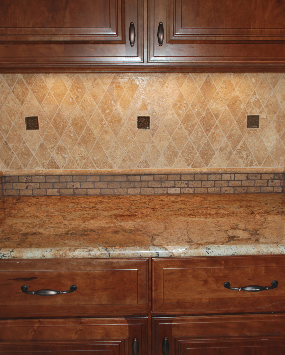Tumbled travertine subway tile