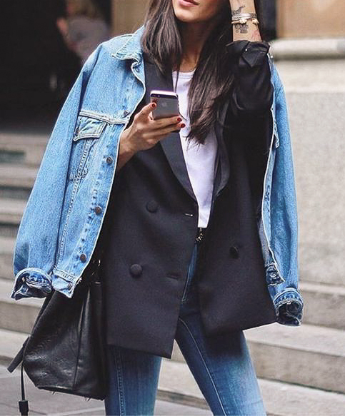 4. Blazer + Jean Jacket - Get a perfect mix of business and casual by pairing a jean jacket with a tailored blazer.