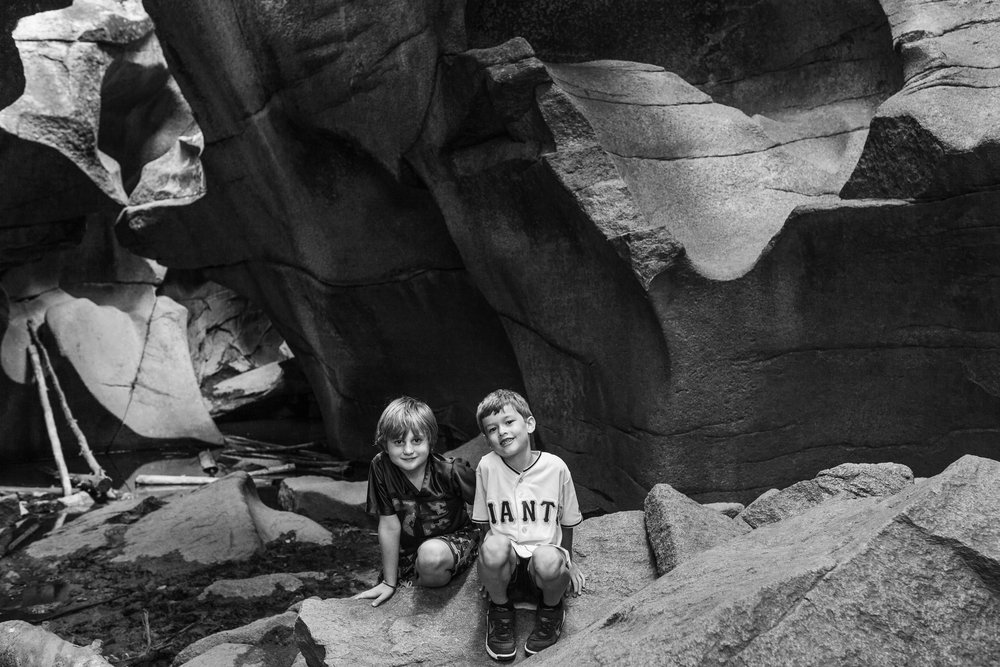 Here is my son with a buddy exploring the grottos just off the Independence Pass.