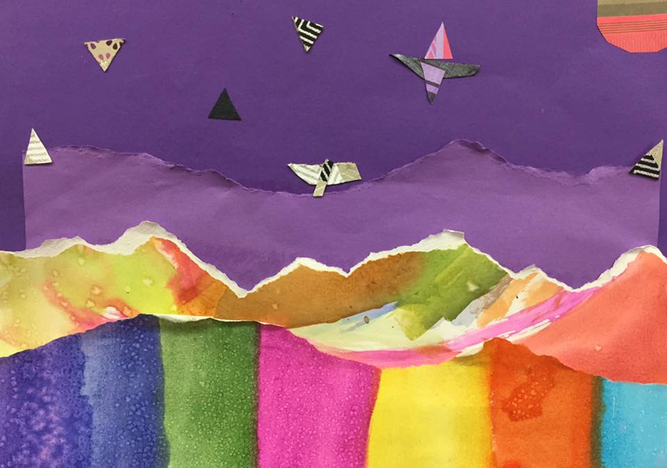 Collage Landscape  - fore, middle and background    (3rd grade)