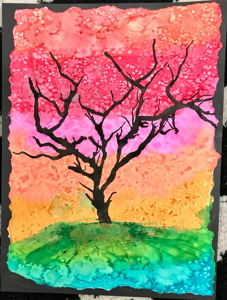 Winter Trees - watercolors and ink  (6th grade)