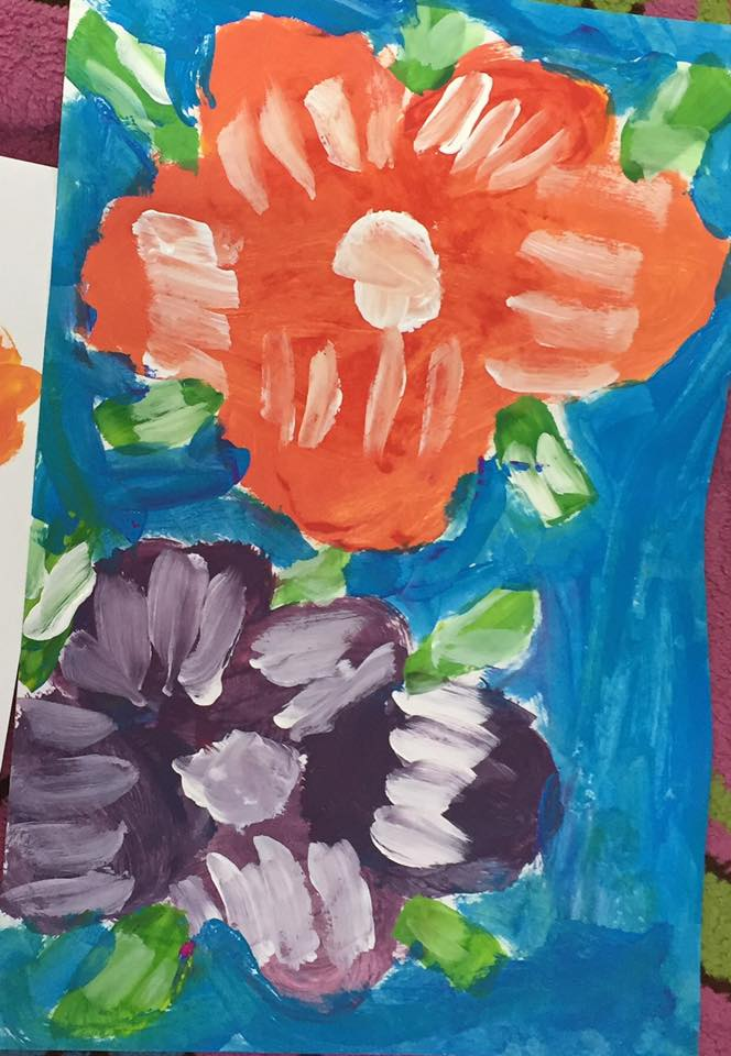 Georgia O'Keeffe - mixing colors     (kindergarten)