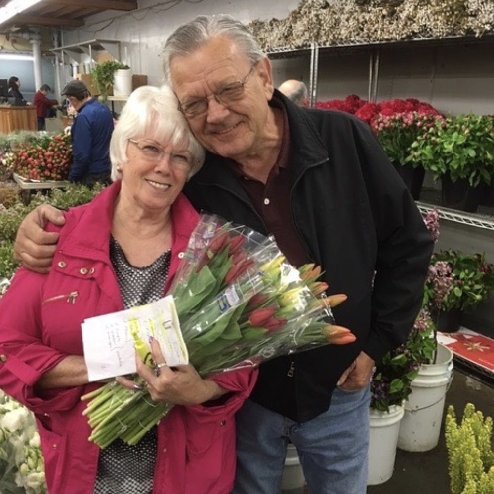 45+ years in the wholesale flower business (Joann and Ken)