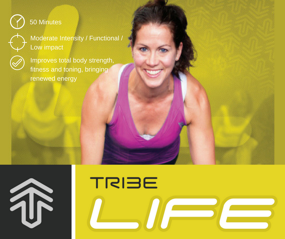 TribeLIFE is a a fun, low impact functional workout that combines aerobic movements, strength exercises as well as conditioning and flexibility. All of these are gentle on the joints. Decrease body fat, increase energy, achieve improved cardiovascular fitness and increase functional strength.