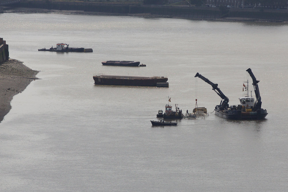 Recovering a sunken barge