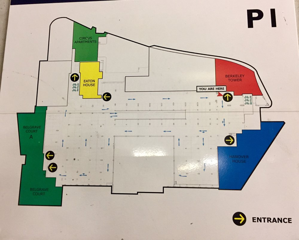 plan of car park layout SHOWING entrances to buildings. car park entrance is on the right