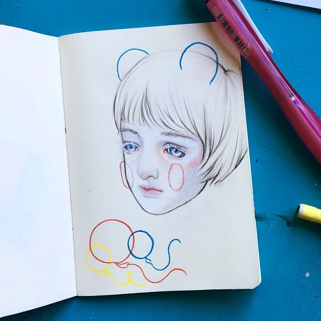 little doodle with prismacolours 🌺✨🍼 #pencildrawing #prismacolor #drawing #bjd