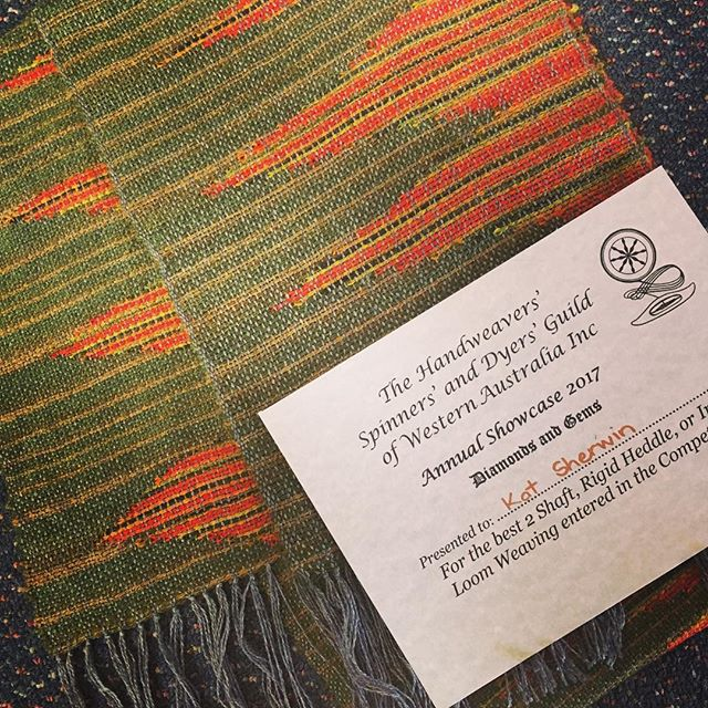 I'm so proud to say that this scarf, a clasped-weft #saori woven piece in merino, mohair, cashmere and cotton, was awarded first prize at the WA Handspinners', Weavers' and Dyers' Guild's Annual Showcase today! The scarf will be available for purchase along with a plenitude of others tomorrow at the Vic Park Market! It's priced at $210  #supportlocal #supportlocalartists #localartists #mynewjob #saori #weaving #entrepreneur #hammeredrabbits #artasstyle #fiberart #fiberartist #fibreart #fibreartist #handspun #handspinning #madebyme #handmade #artyarn #artknit #artknits #wearableart #sparkle #smallbusiness #perthmade #madeinPerth #perthcreative #perthcreatives #textile #textiles #textileartist