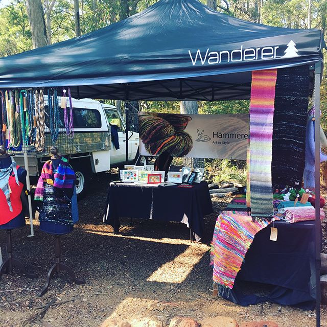 I'm all set up at the beautiful Forest Heritage Centre on Acacia Road in Dwellingup! it's a lovely day...if you've got no plans, why not come down and see the markets here? There are candles, Nyoongar art, handmade silver and semi precious jewellery, pottery... #supportlocal #supportlocalartists #localartists #mynewjob #saori #weaving #entrepreneur #hammeredrabbits #artasstyle #fiberart #fiberartist #fibreart #fibreartist #handspun #handspinning #madebyme #handmade #artyarn #artknit #artknits #wearableart #sparkle #smallbusiness #perthmade #madeinPerth #perthcreative #perthcreatives #textile #textiles #textileartist