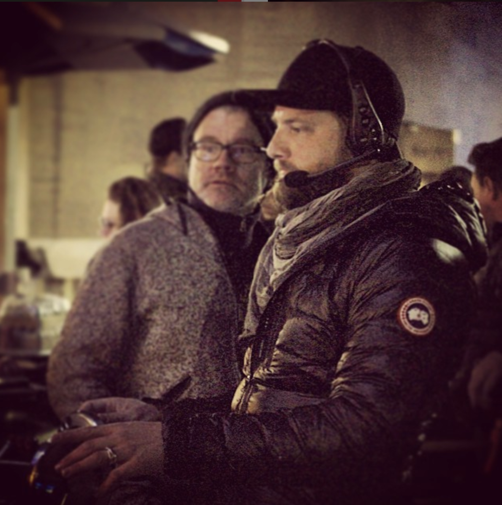 DP Franz Lustig watching as I operate 30' Technocrane move onset of 'Gant' commercial.