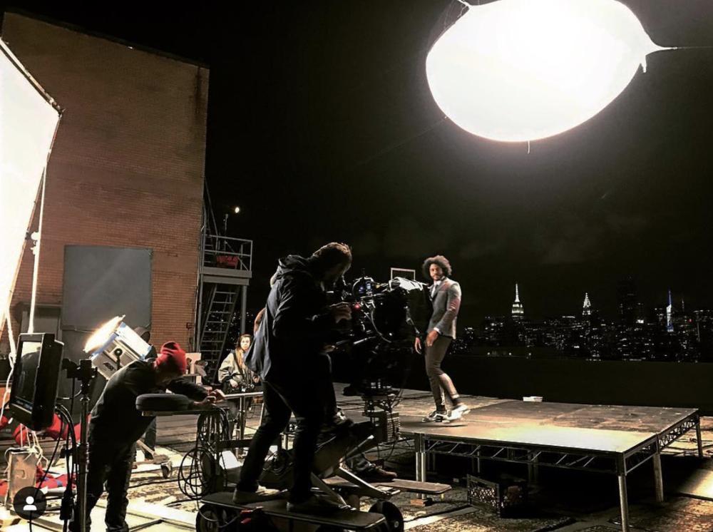 Filming Daveed Diggs onset of 'NBA TV' promo