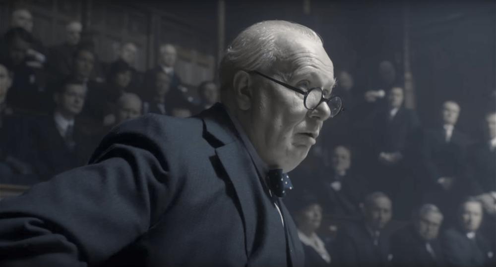 "Gary Oldman as Winston Churchill in ""The Darkest Hour"""